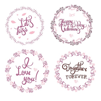 Valentine s day hand drawn calligraphy and illustration vector set