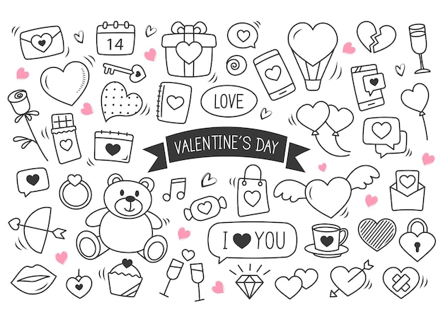 Valentine's day hand drawn doodles. set of love elements.