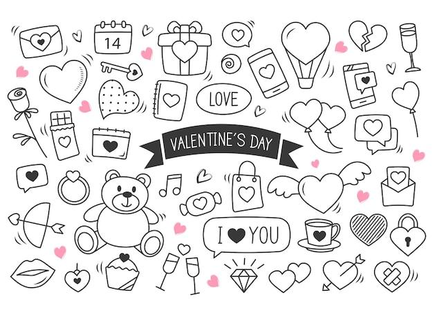 발렌타인 손으로 그린 낙서. 사랑 요소의 집합입니다.