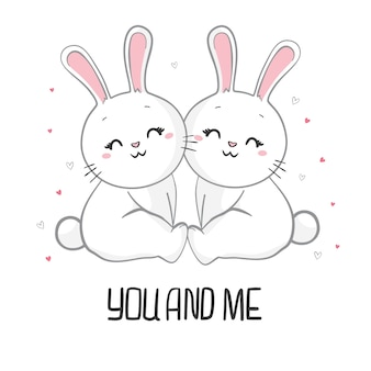 Valentine's day hand drawn illustration of cute rabbit couple