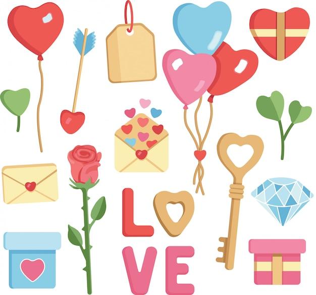 バレンタインのs手描きイラストベクターセット。風船、ハート、手紙、ローズ、ダイヤモンド。明るい色、漫画のキャラクター。