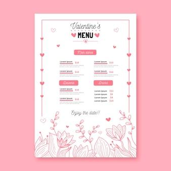 Valentine's day hand-drawn menu template