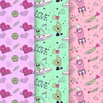 Valentine's day hand-drawn pattern collection