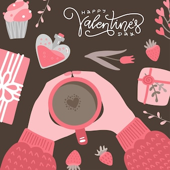 Valentine's day handwritten lettering caligraphic card with  hands holding cup of coffee with. retro flat illustration.
