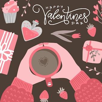 라떼 아트 심장 모양으로 커피 한잔 들고 두 손으로 발렌타인 필기 글자 caligraphic 카드.