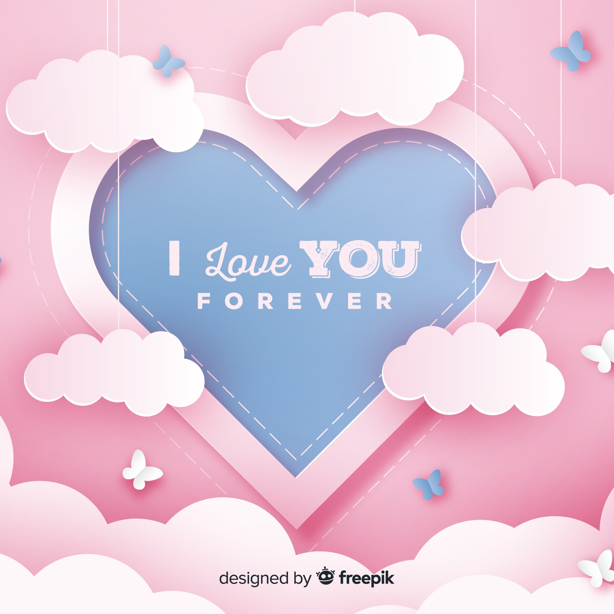 Valentine's day hanging clouds background