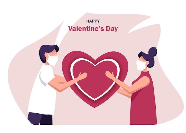 День святого валентина. счастливые люди носят маски для предотвращения коронавируса празднуют день святого валентина. парень дарит девушке сердце.
