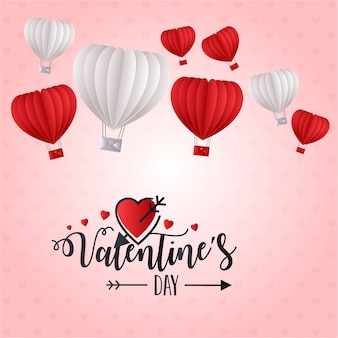 Valentine's day heart balloon background