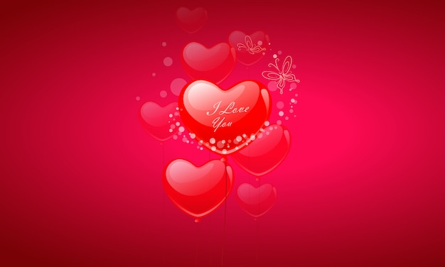バレンタインデーのハートの風船が飛んで