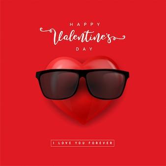 サングラスのバレンタインハート。漫画アイコンの心。絵文字の赤いハート。図