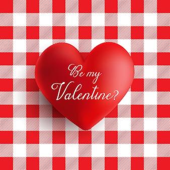 빨간색과 흰색 깅 검 패턴에 발렌타인 하트