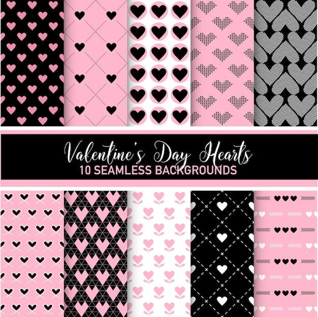 Сердечки ко дню святого валентина - 10 бесшовных фонов