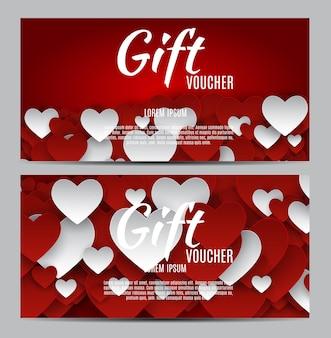 Подарочная карта символа сердца дня святого валентина. любовь и чувства фона дизайн. векторная иллюстрация eps10