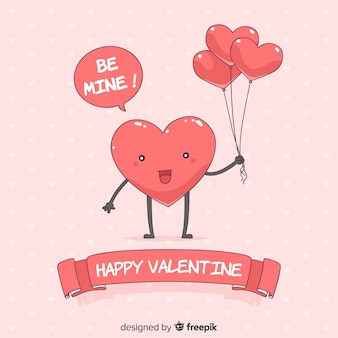 Valentine's day heart with balloons background