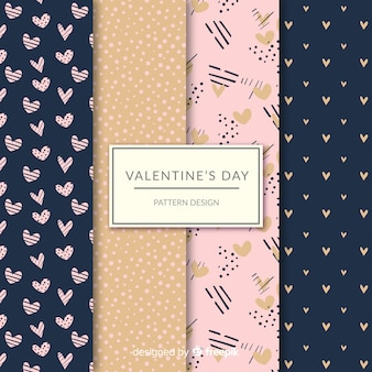 Valentine's day hearts and dots pattern collection