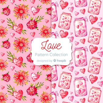Valentine's day hearts pattern collection