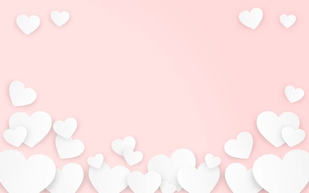 Valentine's day hearts in pink background