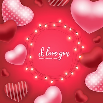 Valentine's day holiday card with 3d red  pink air balloons, glowing garls with bulbs  hand lettering quote  i love you