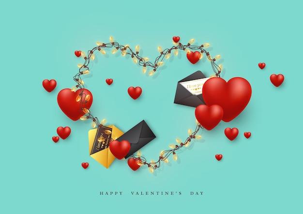 バレンタインデーの休日。ガーランドハートと封筒付きグリーティングカード、3dハート。