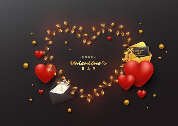 발렌타인 데이 휴일. 갈 랜드 마음과 인사말 카드 봉투입니다.