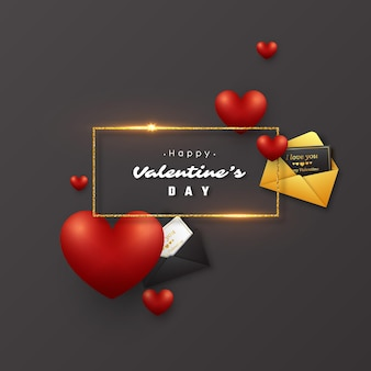 バレンタインデーの休日。輝くライト、3dハート、封筒付きグリーティングカードが付いたキラキラの金色のフレーム。