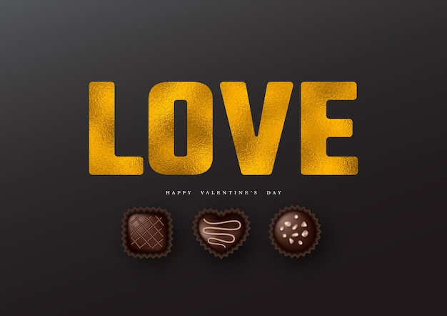День святого валентина праздник. блеск слово любовь с эффектом фольги и 3d реалистичные сладости.