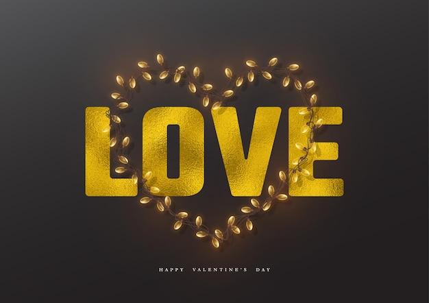 발렌타인 데이 휴일. 호일 효과와 화환 마음으로 반짝이는 단어 사랑.