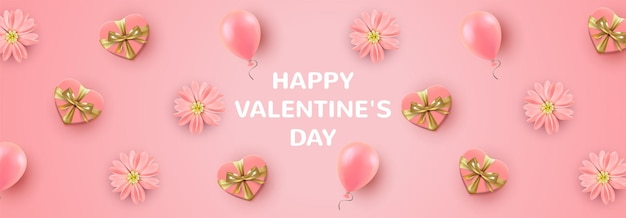 Valentine's day holiday greeting card with gift boxes in heart shape, pink flowers and balloons