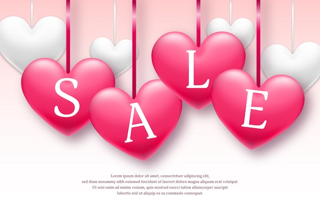 Valentine's day holiday sale banner with pink and white hearts. limited time only. vector