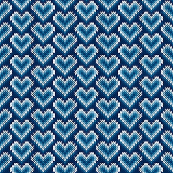 Valentine's day holiday seamless knit pattern with hearts