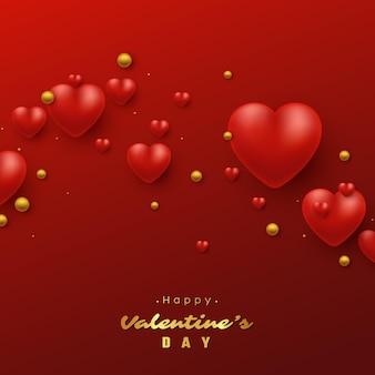 Праздник дня святого валентина с сердечками 3d.