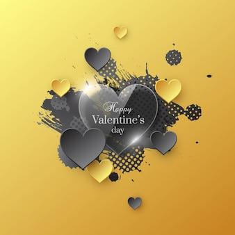 光沢のある紙のハートと水彩のスプラッシュでバレンタインデーの休日。