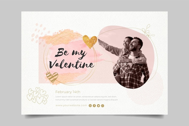 Valentine's day horizontal banner template with photo