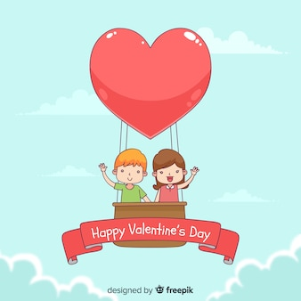 Valentine's day hot-air balloon background