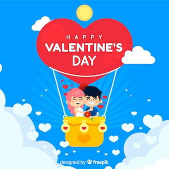 Valentine's day hot air balloon background