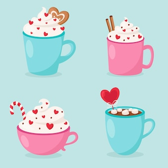 Valentine's day hot drinks collection
