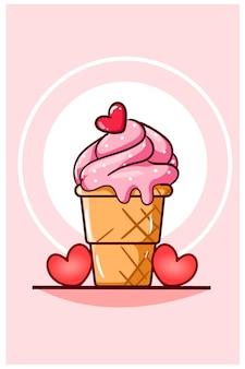 小さなハートの漫画イラストとバレンタインデーのアイスクリーム