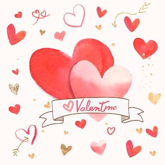 Valentine's day icon watercolor illustration