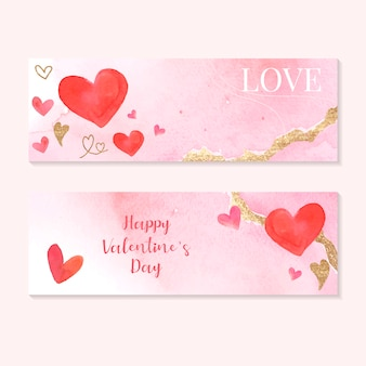 Valentine's day icon watercolor set