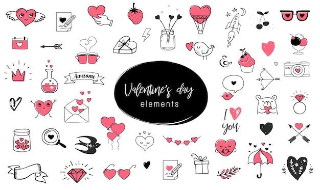 バレンタインデーのアイコンとグラフィック要素のコレクション