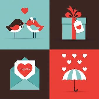 발렌타인 아이콘 및 인사말 카드