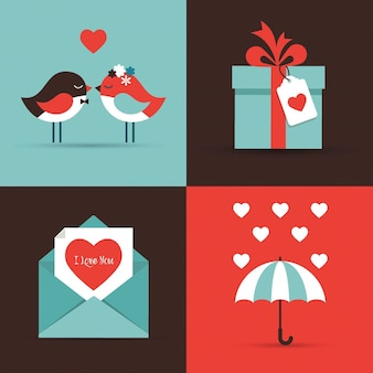 Valentine's day icons and greeting cards