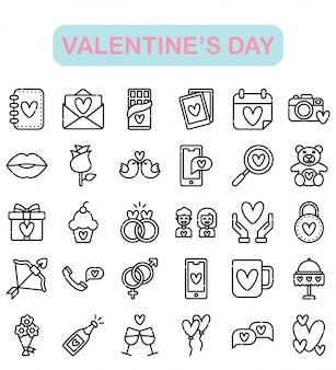 Valentine's day icons set, outline style premium