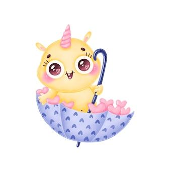 귀여운 만화 노란색 괴물의 발렌타인 그림. 흰색 배경에 고립 된 사랑에 귀여운 괴물입니다.