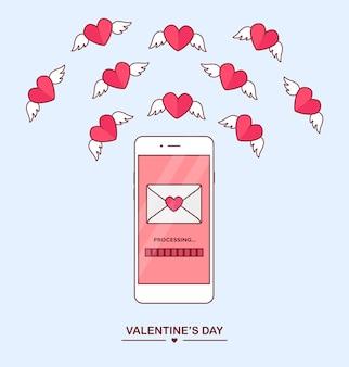 バレンタインデーのイラスト。携帯電話で愛のsms、手紙、メールを送受信します。背景に白い携帯電話。封筒、翼を持つ赤いハートを飛んでいます。 、アイコン。