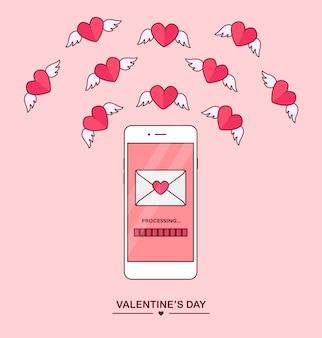 バレンタインデーのイラスト。携帯電話で愛のsms、手紙、メールを送受信します。