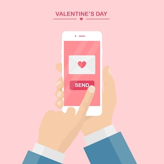Valentine's day illustration. send or receive love sms, letter, email with mobile phone.