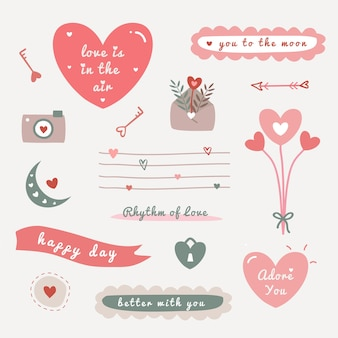 Valentine's day illustration set with hand drawn cute elements texture for fabric, wrapping, textile