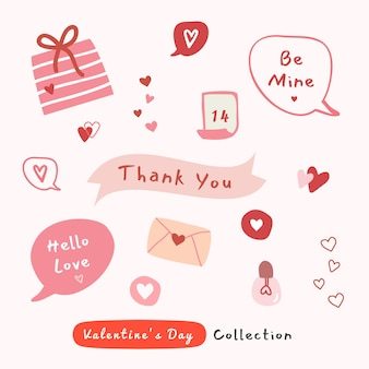Valentine's day illustration set with hand drawn elements texture for fabric, wrapping, textile
