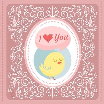 かわいい鳥とヴィンテージの装飾とバレンタインデーイラスト
